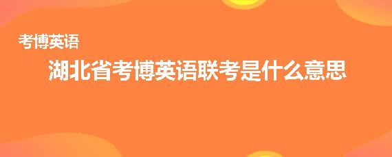 湖北省考博英语联考是什么意思